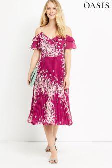 Oasis Multi Pink Floral Pleat Midi Dress