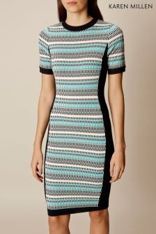 Karen Millen Multi Striped Fitted Knit Dress
