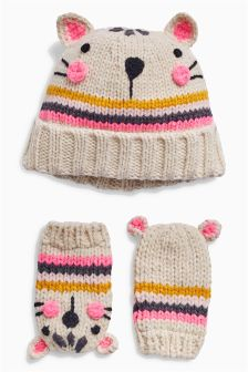 Cat Hat And Mitts Set (Younger Girls)