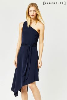 Warehouse Navy One Shoulder Dress