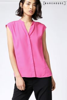 Warehouse Bright Pink Open Back Sleeveless Blouse