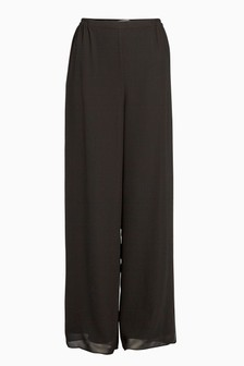 Gina Bacconi Black Chiffon Layered Trouser With Slits