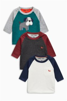 Appliqué Dog Long Sleeve T-Shirts Three Pack (3mths-6yrs)