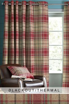 Morcott Woven Check Eyelet Blackout Curtains