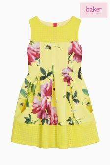 Baker By Ted Baker Younger Girls Yellow Floral Printed Scuba Dress