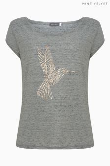 Mint Velvet Grey Hummingbird Print Tee