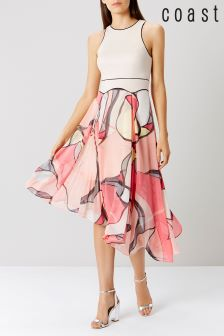 Coast Malacom Pleated Midi Dress