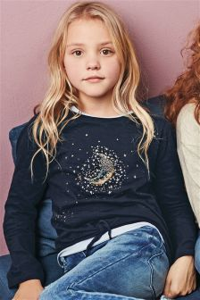 Sequin Moon Tie Front Top (3-16yrs)