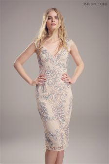 Gina Bacconi Nude Beaded Lace Dress
