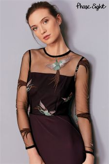 Phase Eight Fig Marly Embroidered Bird Dress