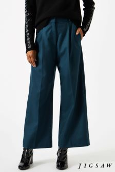 Jigsaw Blue Pressed Flannel Crop Trouser