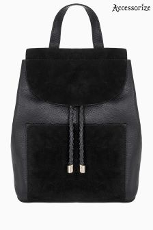 Accessorize Black Cara Leather Backpack