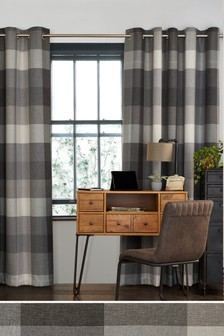 Charcoal Block Check Eyelet Curtains Studio Collection By Next