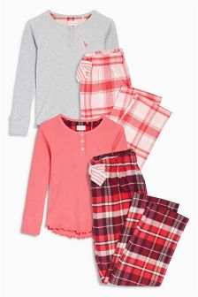 Check Woven Pyjamas Two Pack (3-16yrs)