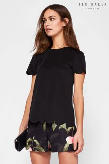 Ted Baker Kaleela Black Scallop Detail Blouse