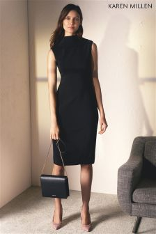 Karen Millen Black High Neck Pencil Dress