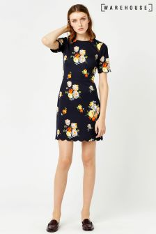 Warehouse Navy Victoria Floral Scallop Hem Dress