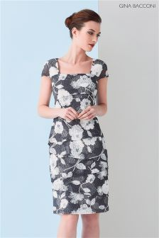 Gina Bacconi Grey 3D Floral Printed Lace Layered Dress