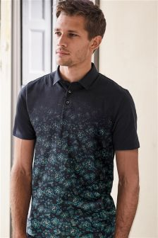 Faded Floral Print Poloshirt
