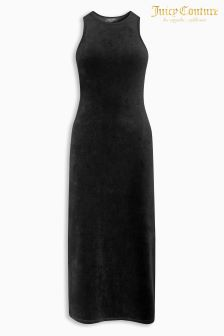 Juicy Couture Black Stretch Velour Fitted Tank Dress