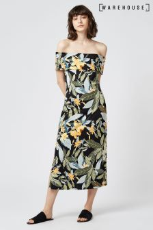 Warehouse Black Tropical Floral Print Dress