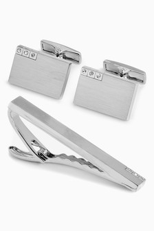 Diamanté Cufflinks And Tie Clip Set