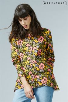Warehouse Black Garden Posy Shirt