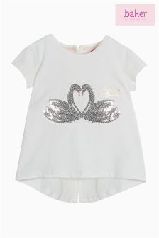 Baker By Ted Baker Girls Sequin Swan T-Shirt