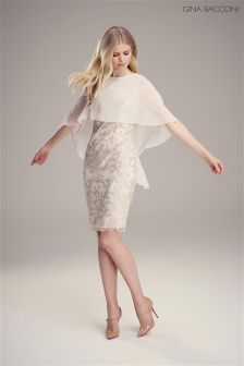 Gina Bacconi Cream Corded Mesh Dress And Chiffon Cape