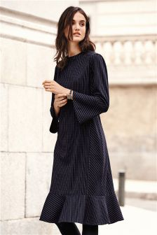 Stripe Fluted Hem Dress