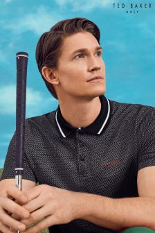 Ted Baker Black Geo Print Polo