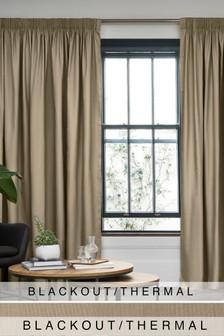 Cotton Studio* Pencil Pleat Blackout/Thermal Curtains