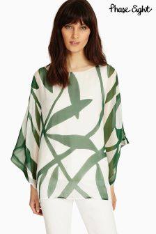 Phase Eight Ivory/Green Izzy Vine Print Blouse