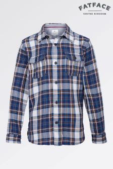 Fat Face Mid Navy Long Sleeve Daniel Check Shirt