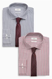 Bengal Stripe Slim Fit Shirts Two Pack With Tie