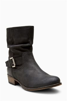 Leather Buckle Slouch Boots