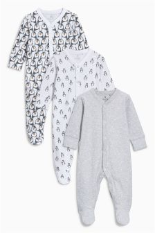 Penguin Sleepsuits Three Pack (0-12mths)
