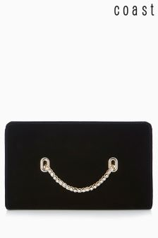 Coast Black Nadine Velvet Eyelet Bag
