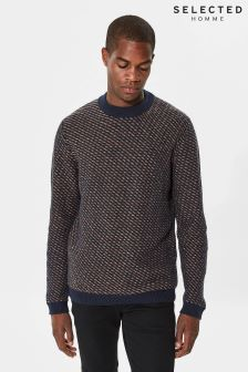 Selected Homme Blue Twill High Neck Knit Jumper