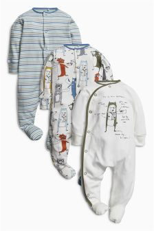 Superhero Animal Sleepsuits Three Pack (0mths-2yrs)