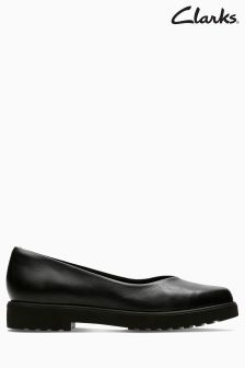Clarks Black Leather Bellevue Comfort Flat Shoe