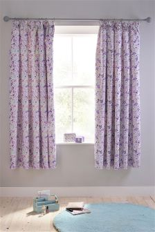 Vintage Ditsy Blackout Pencil Pleat Curtains