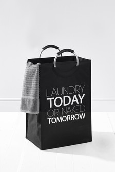 Black Slogan Laundry Bag Studio Collection By Next