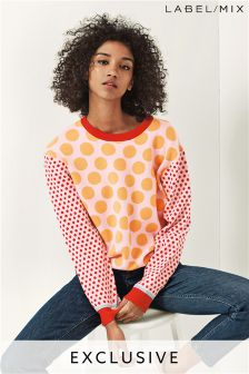 Mix/J.Won Polka Dot Jumper