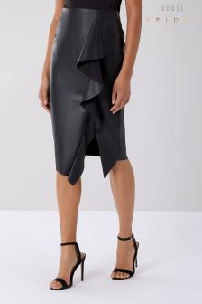 Coast Black Alexis Ruffle PU Skirt