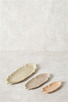 Set Of 3 Feather Ceramic Bowls