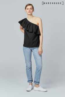 Warehouse Black Cotton Ruffle One Shoulder Top