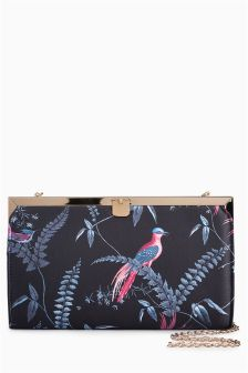 Bird Print Frame Clutch