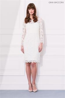 Gina Bacconi Ivory Lace Dress With Jewel Flower Buttons