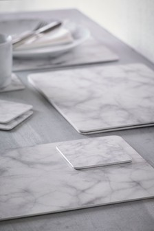 Set Of 4 Marble Effect Placemats And Coasters